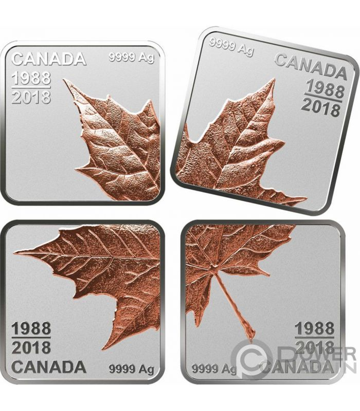 Maple Leaf Quarter 30 Years Set 4 Silver Coins 3 Canada