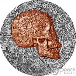 CARVED SKULL Calavera Bones 1 Oz Moneda Plata 1000 Francos Cameroon 2017