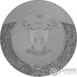 CARVED SKULL Geschnitzter Schädel Bones 1 Oz Silber Münze 1000 Francs Cameroon 2017