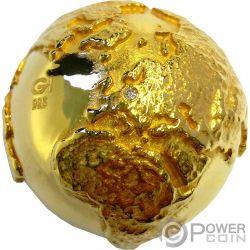GOLDEN DIAMOND GLOBE Diamante Mundo Dorado Roma Italia 2 Oz Moneda Plata 2$ Niue 2017