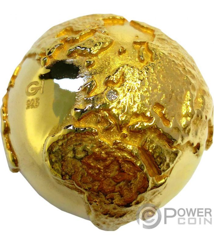 Golden Diamond Globe Rome Italy 2 Oz Silver Coin 2 Niue
