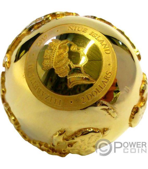 GOLDEN DIAMOND GLOBE Rome Italy 2 Oz Silver Coin 2$ Niue 2017