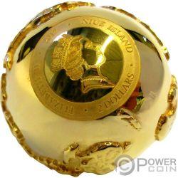 GOLDEN DIAMOND GLOBE Diamante Mondo Dorato Roma Italia 2 Oz Moneta Argento 2$ Niue 2017
