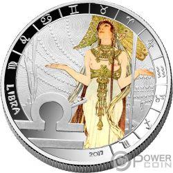 LIBRA Zodiac Signs Mucha Edition Moneda Chapado Plata 500 Francos Benin 2017