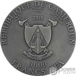 YEAR OF THE DOG Anno Cane Chinese Lunar Calendar 3 Oz Moneta Argento 3000 Franchi Cameroon 2018