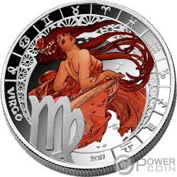 VIRGO Zodiac Signs Mucha Edition Silver Plated coin 500 Francs Benin 2017