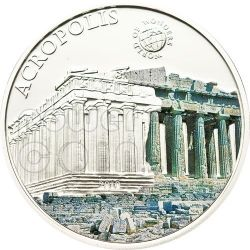 ACROPOLI DI ATENE World Of Wonders Moneta Argento 5$ Palau 2010