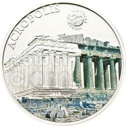 ACROPOLI DI ATENE World Of Wonders Moneta Argento 5$ Palau 2010
