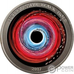 SUPERMASSIVE BLACK HOLE Buco Nero Supermassiccio 1 Oz Moneta Argento 2$ Niue 2017