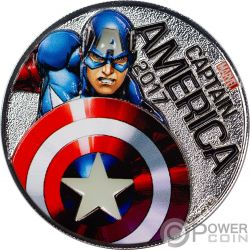 CAPTAIN AMERICA Capitan Marvel Light Ups Moneta Placcata Argento 50 Centesimi Fiji 2017