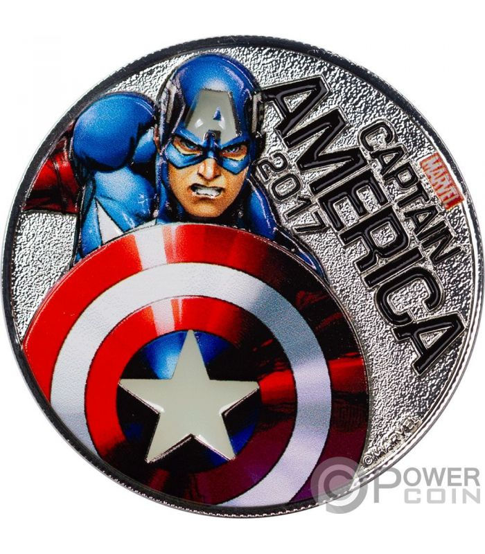 Captain America Marvel Light Ups Silver Plated Coin 50