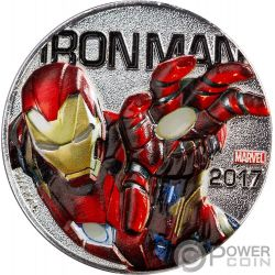 IRON MAN Marvel Light Ups Silver Plated Coin 50 Cents Fiji 2017