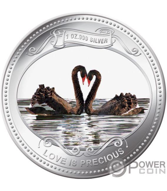 CIGNI NERI Amore Prezioso 1 Oz Moneta Argento 2$ Niue 2009