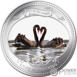 BLACK SWANS Love Is Precious 1 Oz Silber Proof Münze 2$ Niue 2009