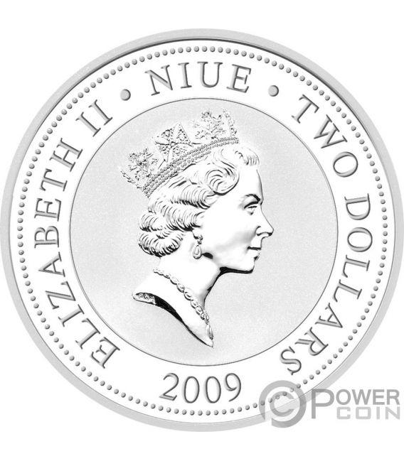 BLACK SWANS Love Is Precious 1 Oz Silver Proof Coin 2$ Niue 2009