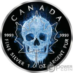 ICE SKULL Teschio Ghiacciato Foglia Acero Maple Leaf 1 Oz Moneta Argento 5$ Canada 2017