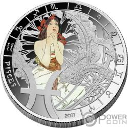 PISCES Fische Zodiac Signs Mucha Edition Silber Plated Münze 500 Francs Benin 2017
