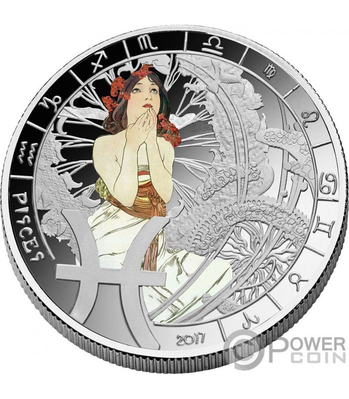 Pisces Zodiac Signs Mucha Edition Silver Plated Coin 500 Francs