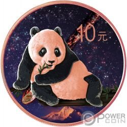 NANTAN Panda Chino Atlas of Meteorites Moneda Plata 10 Yuan China 2015