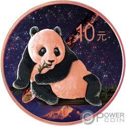NANTAN Panda Chino Atlas of Meteorites Moneda Plata 10 Yuan China 2015