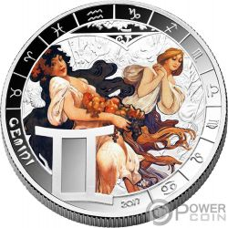 GEMINI Zodiac Signs Mucha Edition Silver Plated Coin 500 Francs Benin 2017
