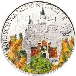 NEUSCHWANSTEIN CASTLE World Of Wonders Silver Coin 5$ Palau 2010