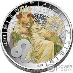 LEO Zodiac Signs Mucha Edition Moneda Chapado Plata 500 Francos Benin 2017
