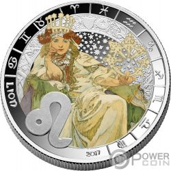 LION Leo Zodiac Signs Mucha Edition Silver Plated Coin 500 Francs Benin 2017
