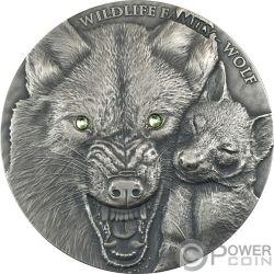 WOLF Lobo Wildlife Family 1 Oz Moneda Plata 1$ Niue 2017