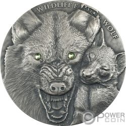 WOLF Lupo Wildlife Family 1 Oz Moneta Argento 1$ Niue 2017