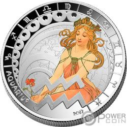 AQUARIUS Zodiac Signs Mucha Edition Silver Plated Coin 500 Francs Benin 2017