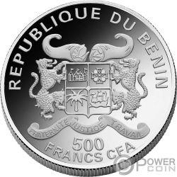 AQUARIUS Acuario Zodiac Signs Mucha Edition Moneda Chapado Plata 500 Francos Benin 2017