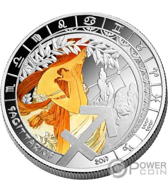 SAGITTARIUS Sagitario Zodiac Signs Mucha Edition Moneda Chapado Plata 500 Francos Benin 2017
