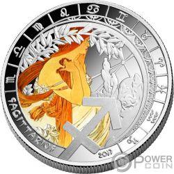 SAGITTARIUS Sagittario Zodiac Signs Mucha Edition Moneta Placcata Argento 500 Franchi Benin 2017