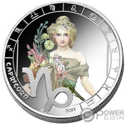 CAPRICORN Steinbock Zodiac Signs Mucha Edition Silber Plated Münze 500 Francs Benin 2017