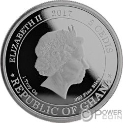 BEYOND THE GRAVE Frazetta Monsters Collection 1 Oz Серебро Монета 5 Cеди Гана 2017