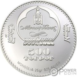 LONG EARED JERBOA Jerbo Orejas Largas Gobi Desert Moneda Plata 500 Togrog Mongolia 2006
