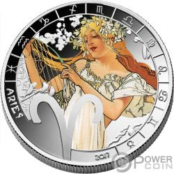 ARIES Zodiac Signs Mucha Edition Silver Plated Coin 500 Francs Benin 2017