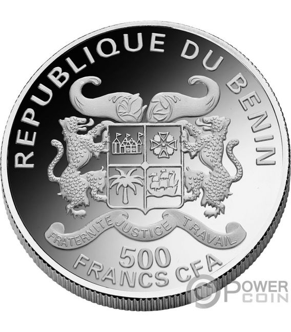 ARIES Zodiac Signs Mucha Edition Moneda Chapado Plata 500 Francos Benin 2017