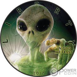 ALIEN Extraterrestre Walking Liberty 1 Oz Moneda Plata 1$ USA 2017