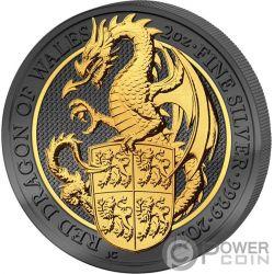 DRAGON Drago Queen Beasts Golden Enigma 2 Oz Moneta Argento 5£ United Kingdom 2017