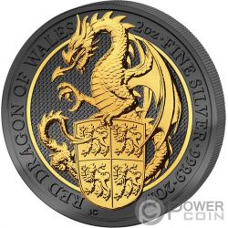 DRAGON Queen Beasts Golden Enigma 2 Oz Silver Coin 5£ United Kingdom 2017
