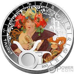 TAURUS Stier Zodiac Signs Mucha Edition Silber Plated Münze 500 Francs Benin 2017