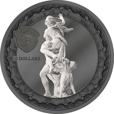Eternal Sculptures Coin. 2018 2 Oz BLACK PROOF Silver 10$ RAPE OF PROSERPINA