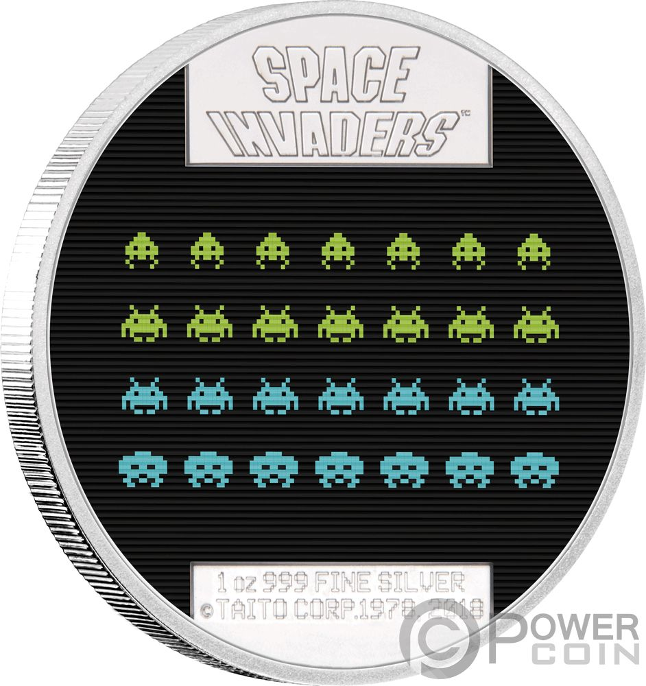 Space Invaders 40th Anniversary 1 Oz Silver Coin 2 Niue 2018 Ebay