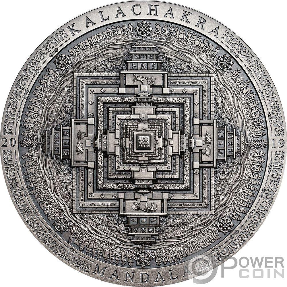 Details about KALACHAKRA MANDALA Symbolism 3 Oz Silver Coin 2000 Togrog  Mongolia 2019