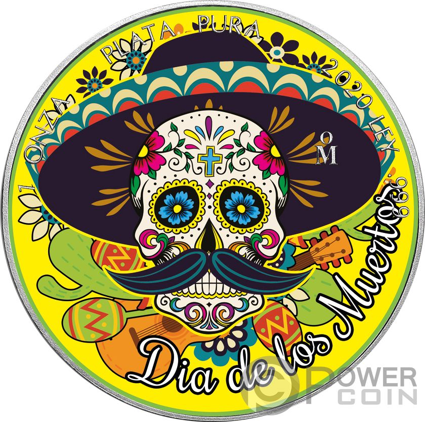 2018 Mexican Libertad Day of the Dead CRYSTAL SKULL 6 Colorized 1oz Silver Coin