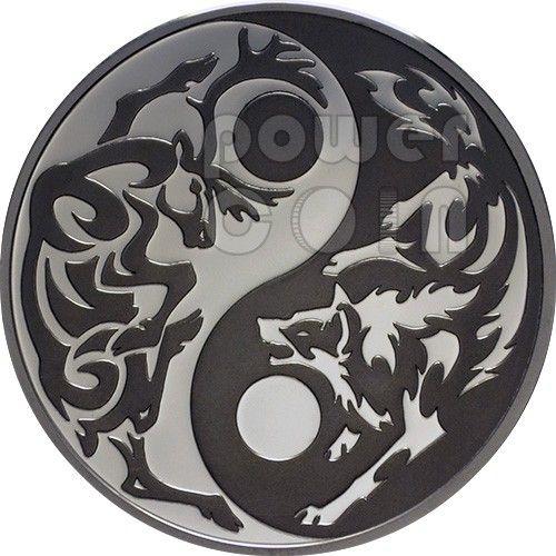 Wolf Caribou Predator Prey Yin Yang Palladium Silver Coin