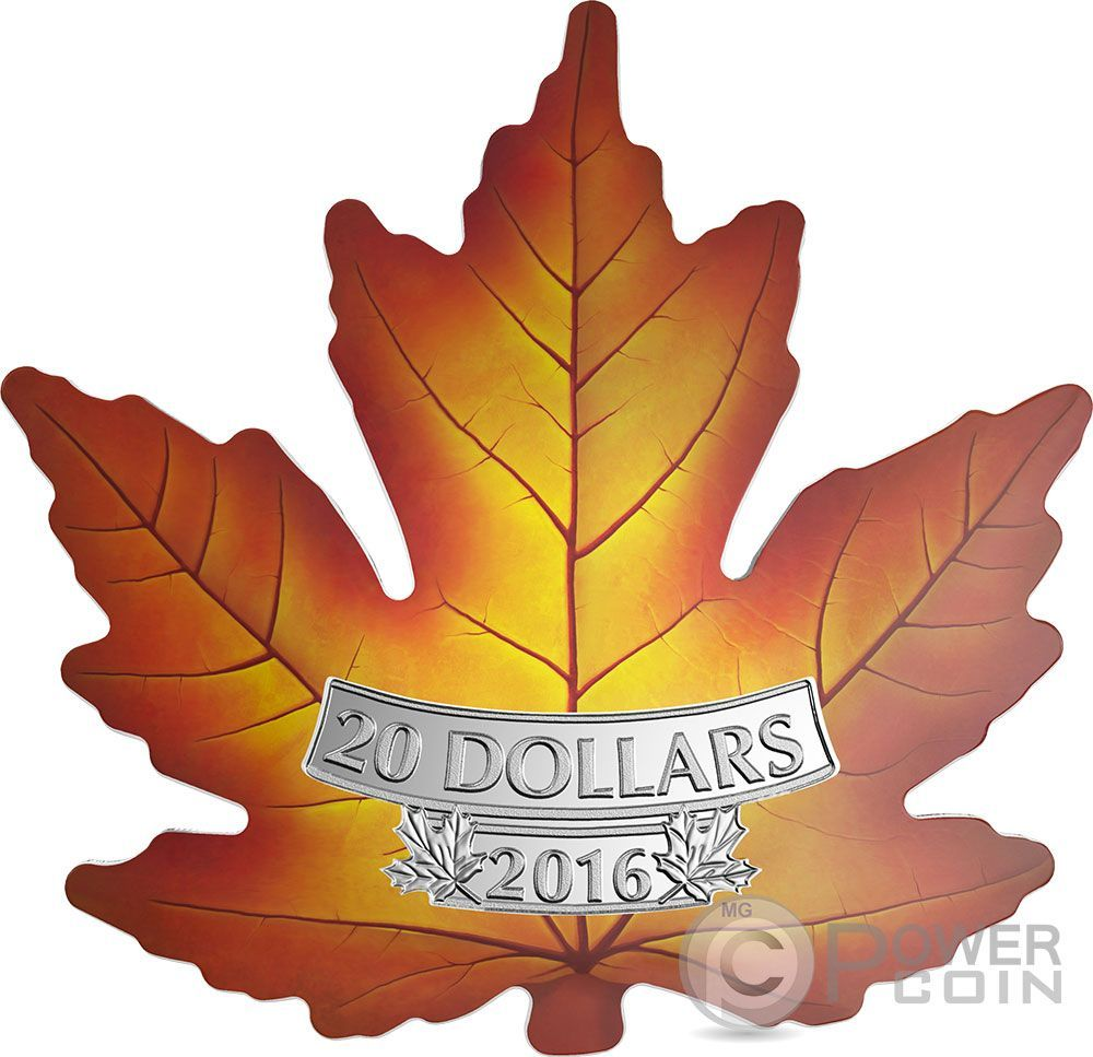 Cut Out Maple Leaf Colored Silver Coin 20 Canada 2016 Ebay