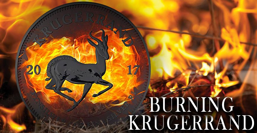 THE FIRST EVER BURNING KRUGERRAND SILVER COIN